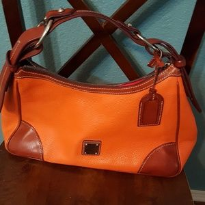 Dooney & Bourke orange large hobo pebble leather